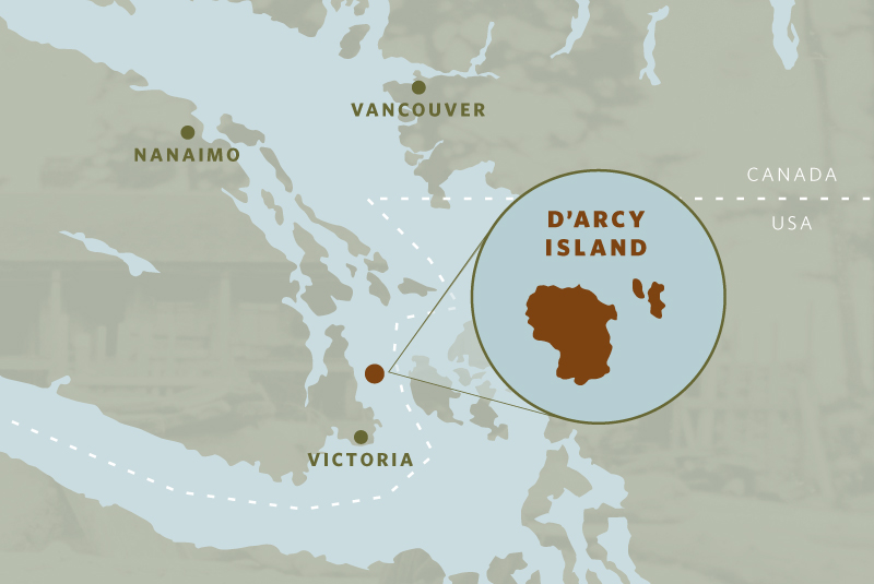 Locator map of D'Arcy Island in British Columbia